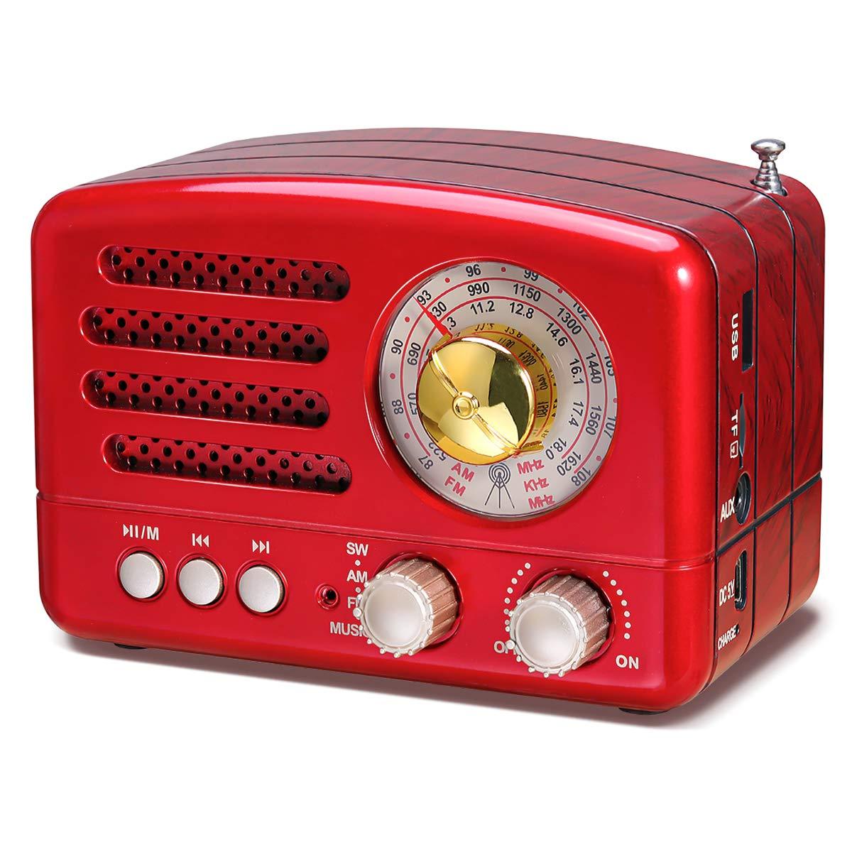 Rojo USB Incorporado Micro-SD Altavoz Bluetooth portatil Radio Retro con bater/ía Recargable de 1800mAh Actualizado J-160 Radio de Transistor port/átil peque/ña Entrada AUX