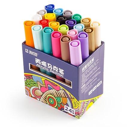 Acrylstifte Marker, 24 Farben Set, mittlere Strichstärke permanent wasserfest, Filzstift Folienstift Acrylic Painter für Holz