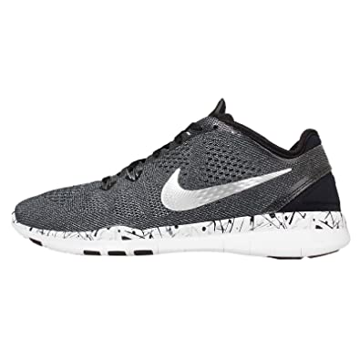 Women's Training Shoes - Nike Free TR 5 Print - Black/White/Cool Grey/Metallic Silver : W92y1302