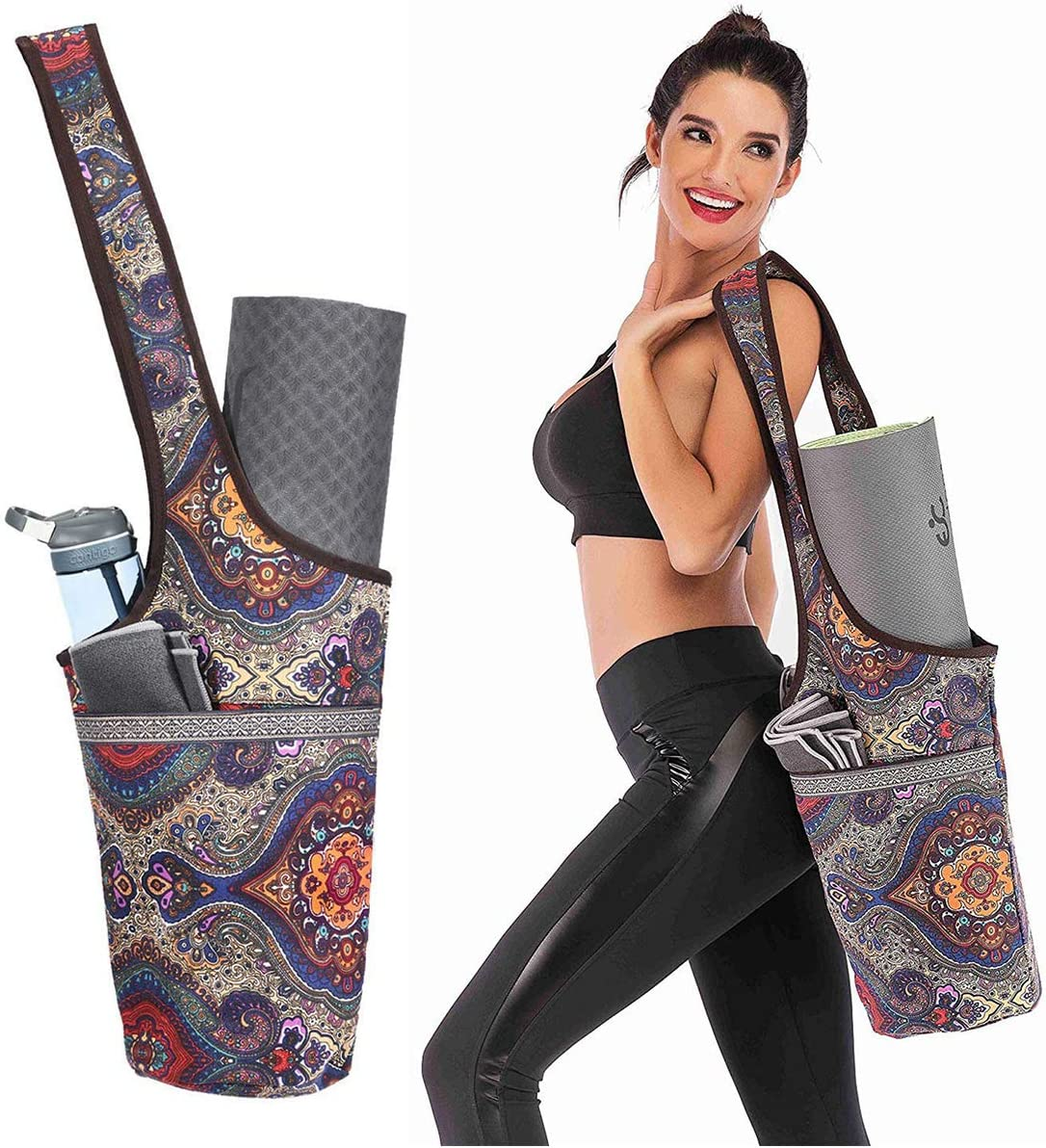Bolsa de esterilla grande para yoga Pilates compacta con bolsillos se adapta a la mayor/ía del tama/ño de la alfombrilla correa ajustable extra ancha f/ácil acceso
