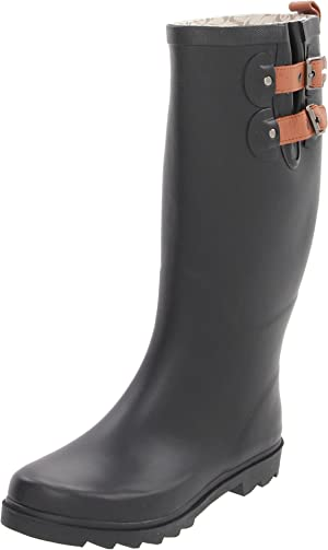 Chooka Women's Top Solid Tall Rain Boots Rain Boot, Black-Matte, 8 M US