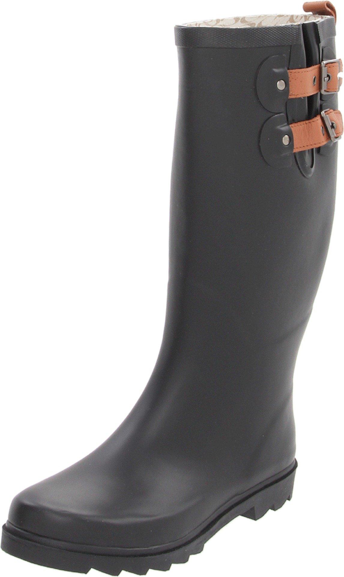 Chooka Women's Top Solid Tall Rain Boots Rain Boot, Black-Matte, 8 M US