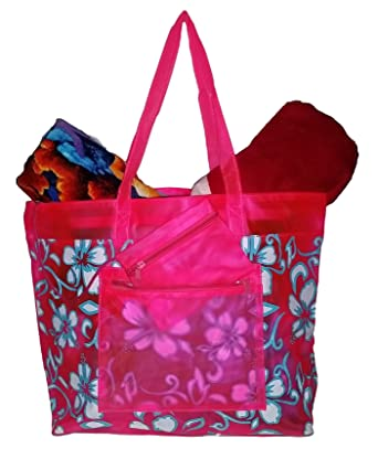 Amazon.com | Getagadget Pink Large Vinyl Hibiscus Beach Tote Bag ...