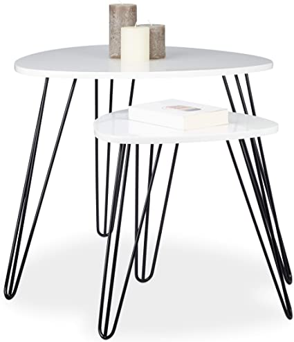 Relaxdays Set Of 2 Side Tables Square 3 Legs Wood Metal 52 X 60 Cm Coffee Table Living Room Glossy White Amazon Co Uk Kitchen Home