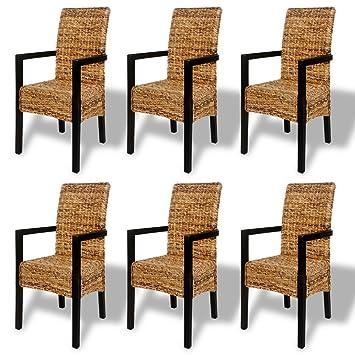 Anself - Set 6 sillas con reposabrazos tejidas a mano de ...