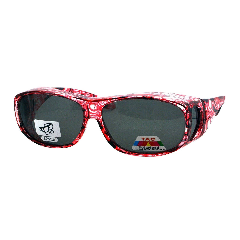 bc224ac45c62 Amazon.com  Polarized Sunglasses Fit Over Glasses Oval Rectangular OTG Anti- Glare (light red