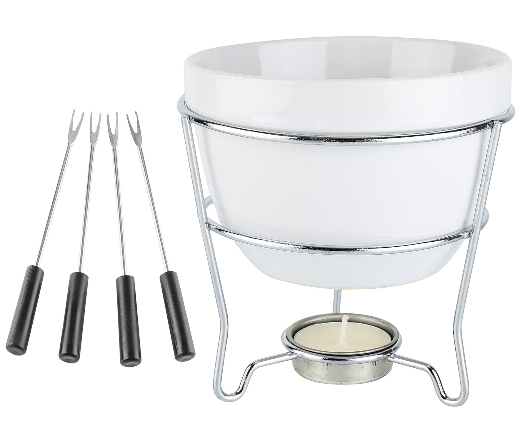 Elegant Chocolate Fondue Bowl Set with 4 Dipping Forks & Tea Light Holder – For the Perfect Melted, Chocolate & Cheese Serving – Even Heat Distribution - Dishwasher, Microwave and Oven Safe 6 oz. by home ess. (Image #2)