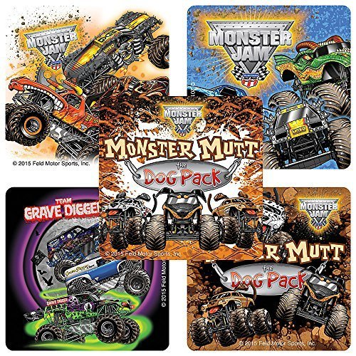 Monster Jam Truck Trios Stickers - Prizes and Giveaways - 100 Per Pack by SmileMakers