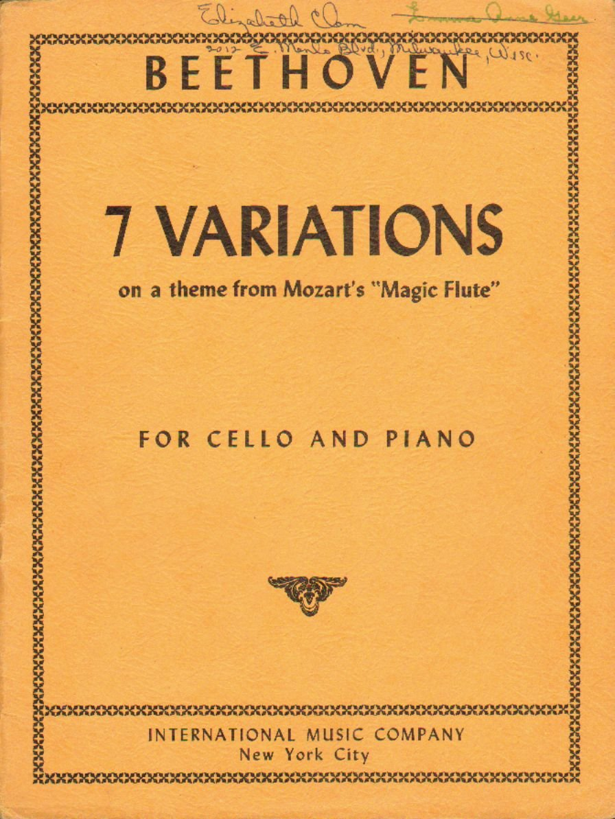 Amazon com: Beethoven 7 Variations on a theme from Mozart's