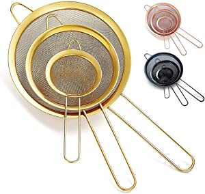 Kyraton Gold Fine Mesh Strainer 3 Pieces Set, Golden Flour Sifter For Baking, Stainless Steel Clander, Matcha Tea Strainer, Gravy Separator, Stasher Sieve Pasta Strainers