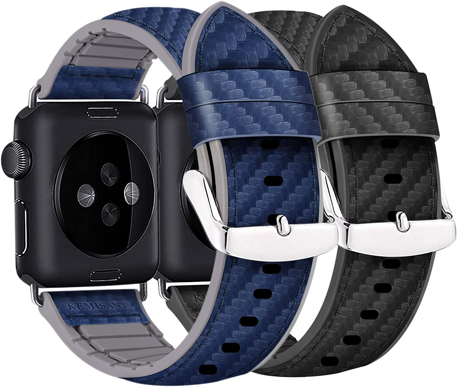 2 Gift-Pack Bands Compatible for Apple Watch Band 38mm/40mm/42mm/44mm,Kemisant Sports Watch Strap Replacement for iWatch 5/4/3/2/1,Top Grain Leather&Silicone Based