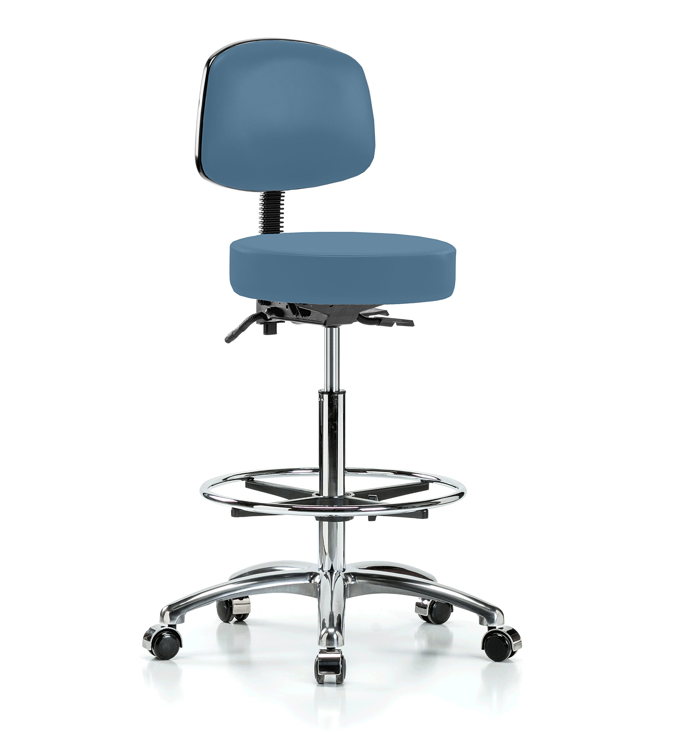 Perch Chrome Walter Rolling Doctor Stool with Footring and Adjustable Back Support for Medical Dental Salon Spa Office or Home 25'' - 35'' (Hard Floor Casters/Colonial Blue Vinyl)