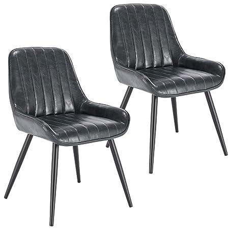 E-starain 2X Sillas de Comedor Dining Chairs Sillas Tapizadas Paquete de 2  Sillas Cocina Nórdicas Cuero Sintético Sillas Bar Metal Silla de Oficina ...