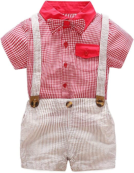 Infant Baby Boys Short Sleeve Bow Tie Gentleman Jumpsuit Leaf Print Button Romper Comfy One Piece Clothing