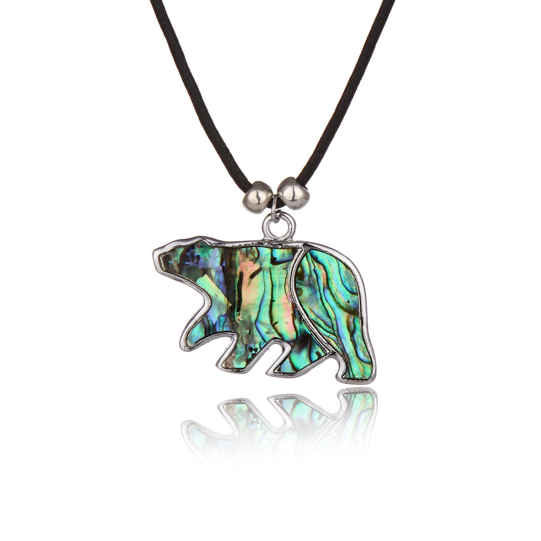 Barch Blue Abalone Paua Shell Polar Bear Pendant Necklace Silver with Wax Cord/Stainless Steel Chain (Big Polar Bear)