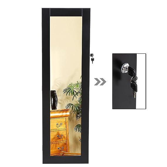 Songmics Armario con espejo para joyas montado a la pared, joyero de pared de madera, color negro 120cm JBC24H: Amazon.es: Hogar