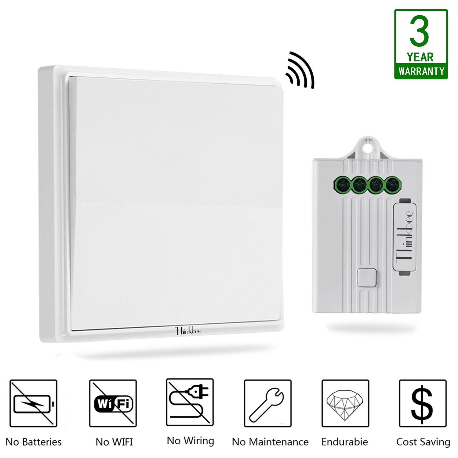 Thinkbee Wireless Light Switch Kit No Battery Wiring Wifi Two Switches To One Besides Ceiling Fan Diagram Required Easy Install On Off Self Powered Kinetic Remote Controlled And