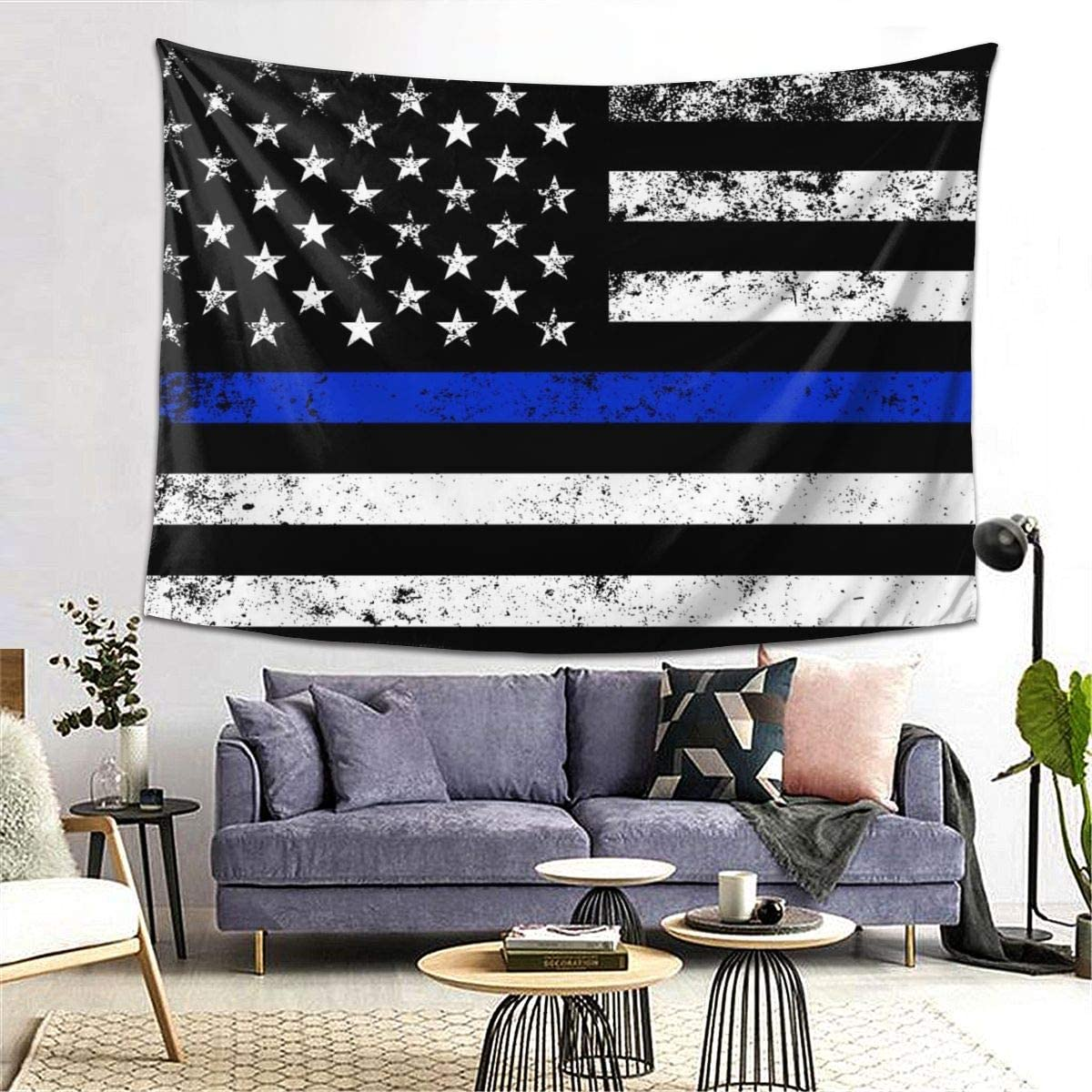 BAIFUMEN Thin Blue Line American Flag Tapestry for Dorm Bedroom Living Room Home Decor Decorative Tapestry Wall Hanging Tapestries with 80x60 Inch