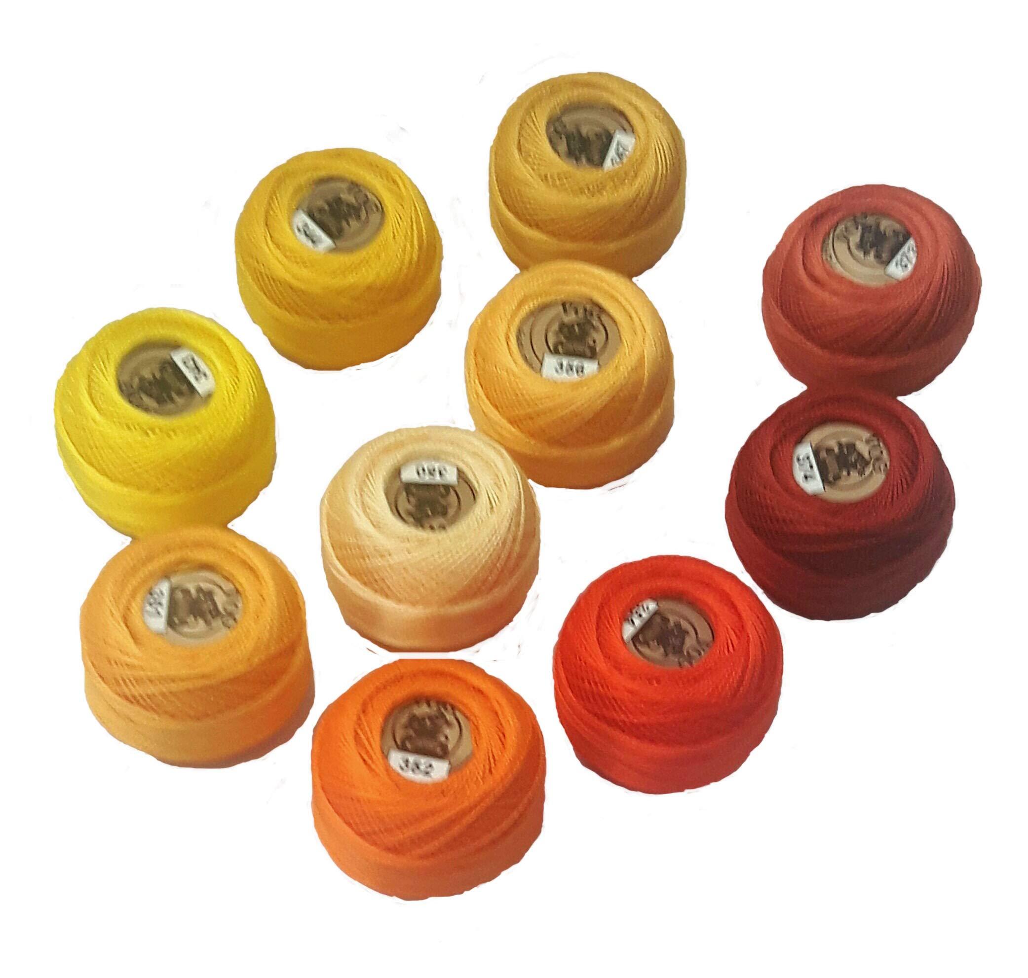 Vog Perle Cotton Size 8 Embroidery Threads - Set of 10 Balls (10gr Each) - Yellow & Orange Shades (Column No. 7) by Vog