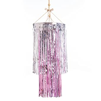 Lings moment party decorati home decoration fringe chandelier lings moment party decorati home decoration fringe chandelier pink silver foil tissue paper tassels aloadofball Images