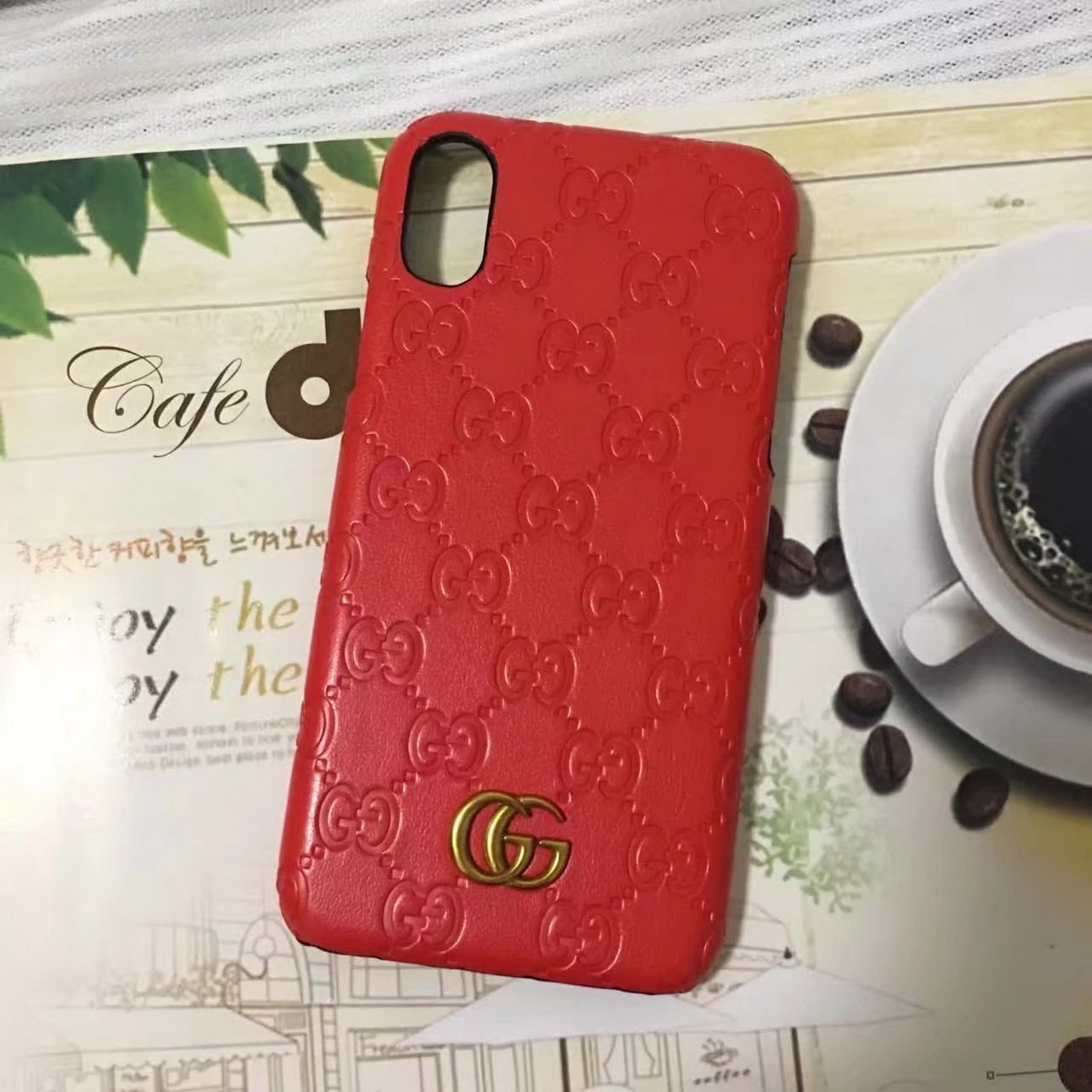 For iPhone x case,iPhone 10 case,Fashion Graphic Style Premium Luxury PU Leather Case Cover for Apple iPhone x iphone ten(2017) only(Red GG Monogram)