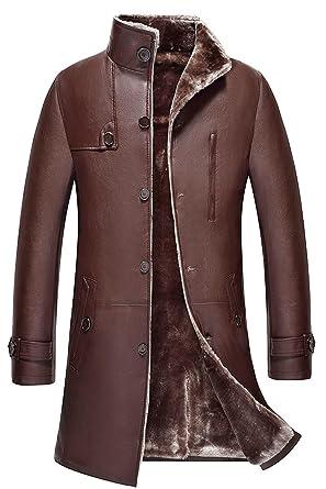 WS668 Haute Qualite Homme Longue Hiver Épais Chaud Fourrure Cuir Manteaux  Parka Outdoor Trench-Coat 3ba71781e62