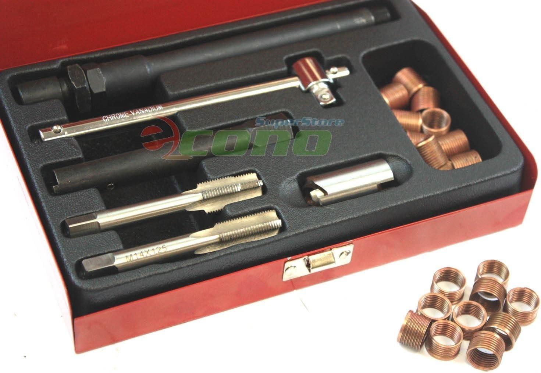 M14x1.25 Car Spark Plug Thread Repair w//Box Tap Wrench Tool Kit Universal Steel