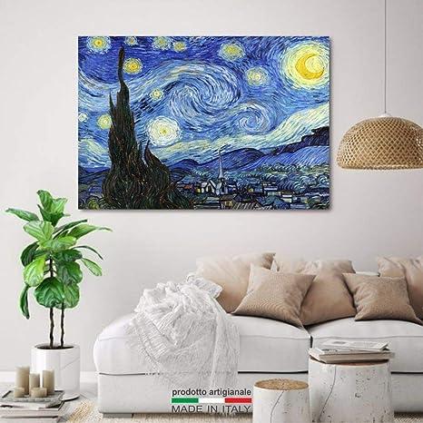 Quadri L C Italia Van Gogh Notte Stellata 100 X 70 Quadro Moderno Stampa Su Tela Canvas Da Parete Per Soggiorno Camera Da Letto Ufficio Amazon It Casa E Cucina