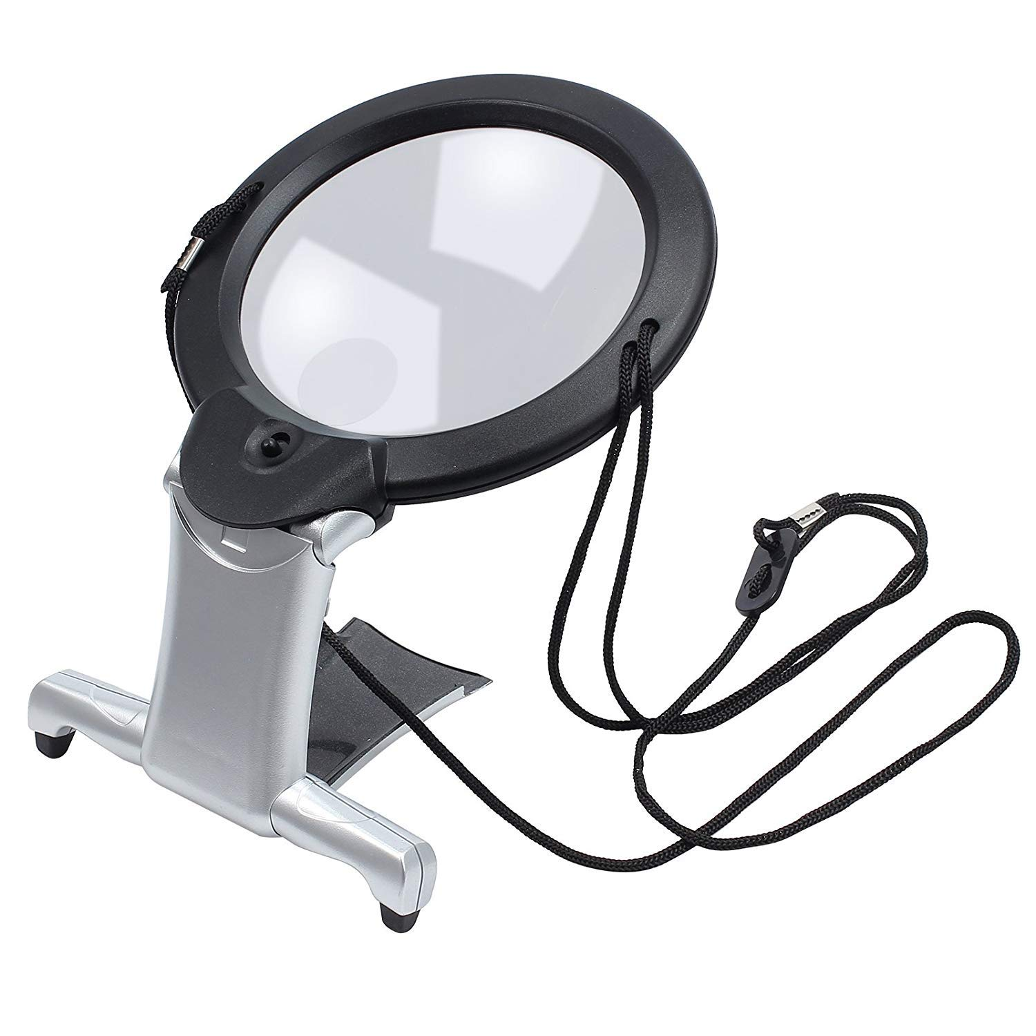 ElectroOptix 2 in 1 Magnifying Glass Hands Free Giant Large Magnifier with Led Illuminated for Low Vision and Visually Impaired Seniors Portable by ElectroOptix