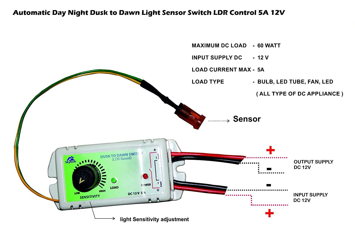Buy Automatic Day Night Dusk To Dawn Light Sensor Switch Ldr Control. Buy Automatic Day Night Dusk To Dawn Light Sensor Switch Ldr Control 7a 12v Dc Online At Low Prices In India Amazonin. Wiring. Day Night Switch Wiring Diagram 12v At Scoala.co