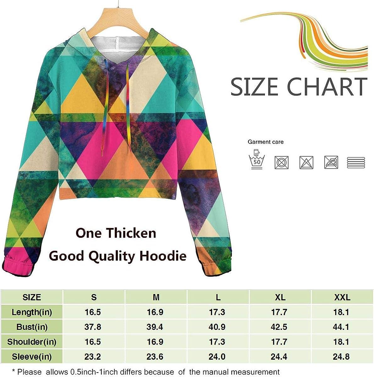 SITU Womens Hoodie Crop Top Long Sleeve Print,Watercolor Triangles Pattern