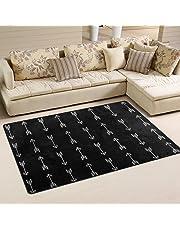 WOZO Black White Arrow Area Rug Rugs Non-Slip Floor Mat Doormats Living Room Bedroom 60 x 39 inches