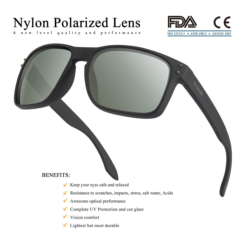 Polarized Sunglasses for Men 100% UV Protection Wayfarer Sun Glasses for Driving Men Clear Vision - Rectangular TR90 Frames by Per Meglio (Image #3)