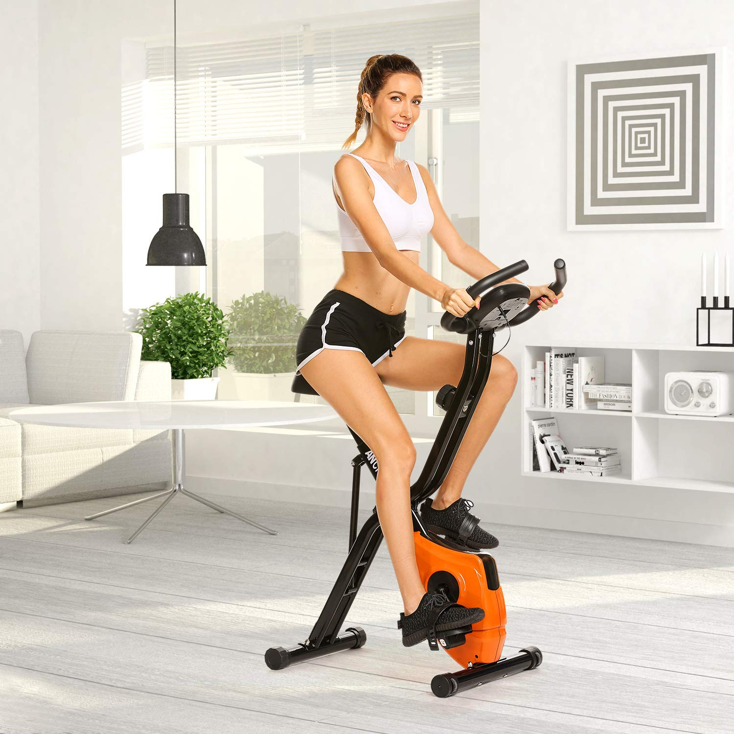ANCHEER Folding Magnetic Exercise Bike, 10-Level Adjustable Stationary Bike - Tablet Stand & Large and Comfortable Seat by ANCHEER (Image #7)