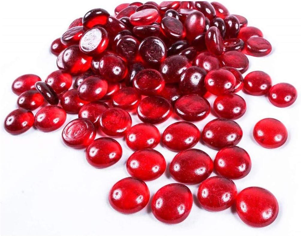 NEEZ Piedras de vidrio Perlas Nuggets Gemas Piedras para decoración acuarios jarrones (Color rojo-200pcs-1kg)