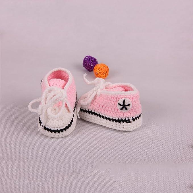yeahibaby bebé hecha a mano calcetines de punto Crochet Cálido cuna zapatos patucos para bebés 10 cm rosa rosa Talla:10cm: Amazon.es: Bebé