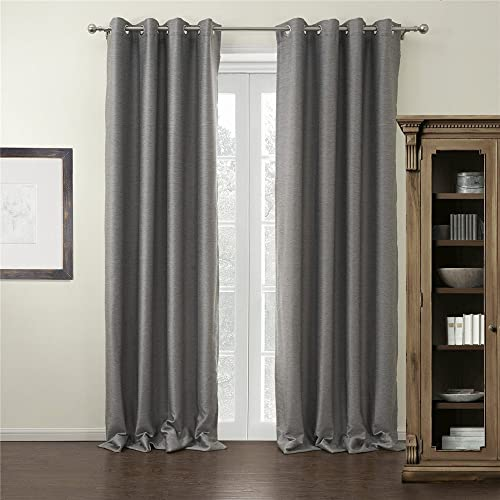 IYUEGO Modern Grey Curtain Solid Grommet Top Blackout Curtain Draperie