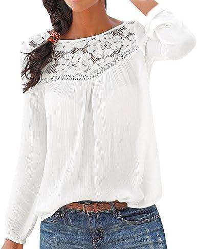 Mujer Elegantes Blusas con Encaje Labor de Retazos Manga Larga Camisa de Vestir: Amazon.es: Ropa y accesorios