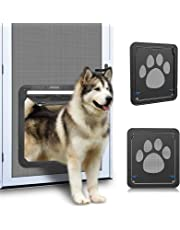 """OWNPETS Pet Screen Door, Magnetic Flap Screen Automatic Lockable Black Door for Small Dog and Cat Gate 11.31"""" x 9.36"""",Easy to Install (Large 12"""" x 14"""")"""