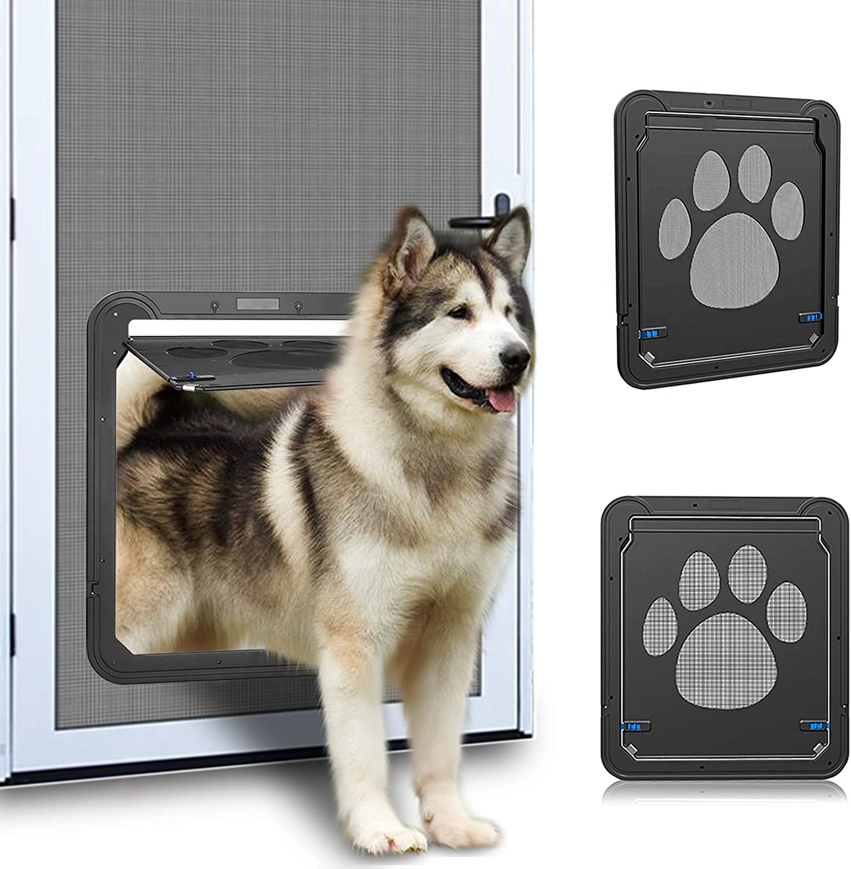 OWNPETS Dog Screen Door, Inside Door Flap 12x14x0.4 Inch, Lockable Pet Screen Door, Magnetic Self-Closing Screen Door with Locking Function, Sturdy Screen Door for Dogs Cats