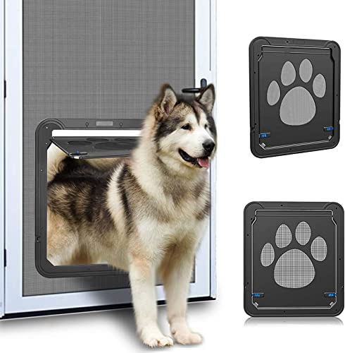 Ownpets Screen Dog Door, Inside Door 12x14x0.4 inch, Lockable Pet Screen Door with Magnetic Self Closing Function, Screen Door for Dogs Cats