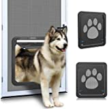 """OWNPETS Pet Screen Door, Magnetic Flap Screen Automatic Lockable Black Door for Small Dog and Cat Gate 11.31"""" x 9.36"""",Easy to"""