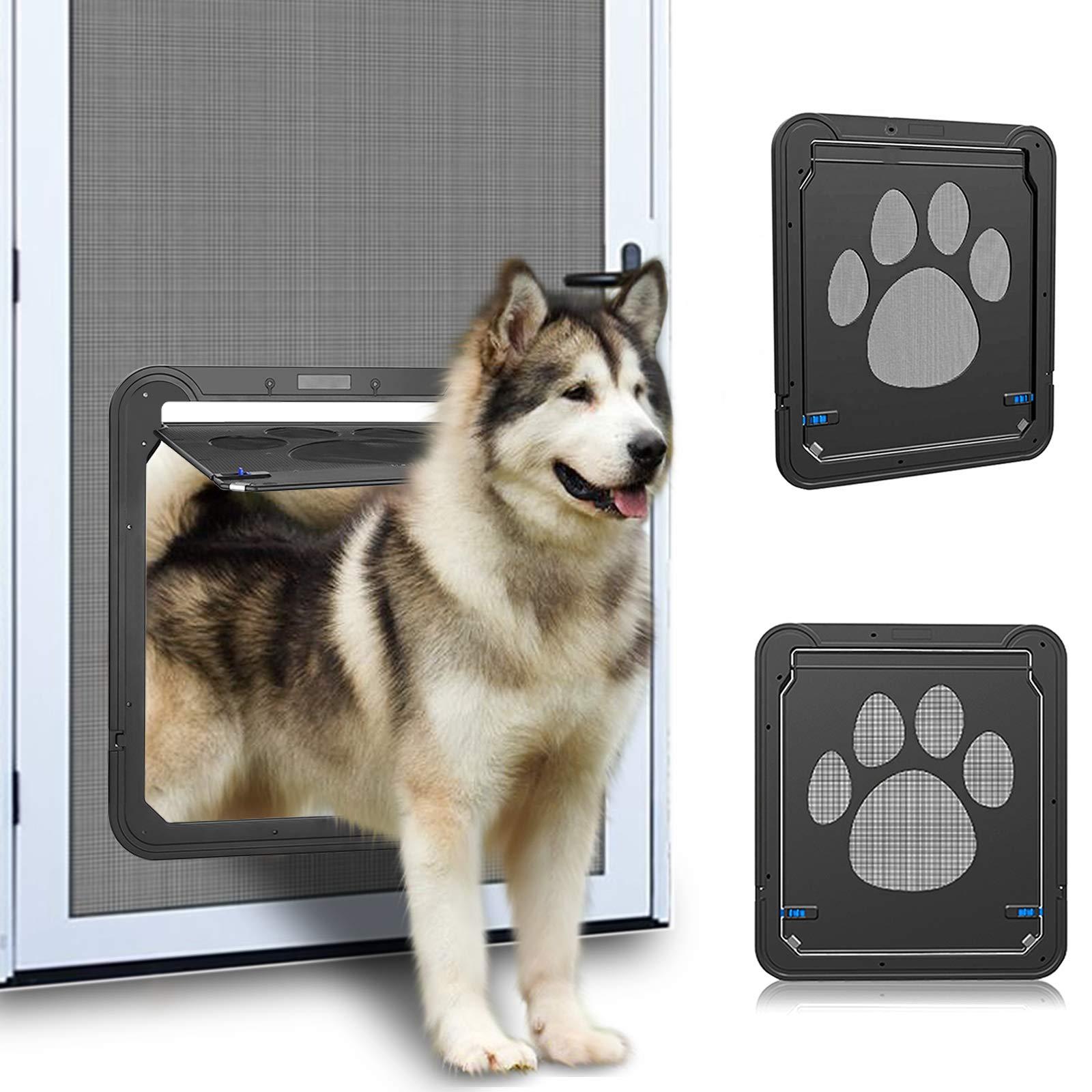 OWNPETS Dog Screen Door, Lockable Pet Screen Door, Magnetic Self-Closing Screen Door with Locking Function, Sturdy Screen Door for Dog Cat