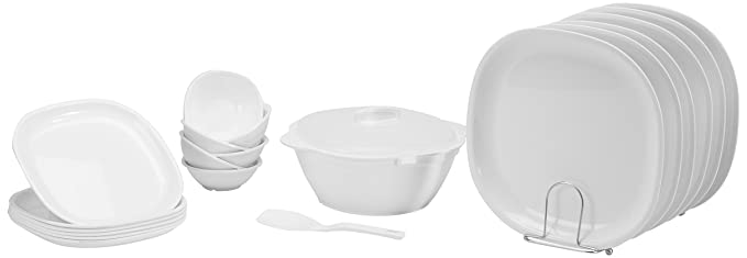 Signoraware Square Dinner Set, 21-Pieces, White Dinnerware Sets at amazon