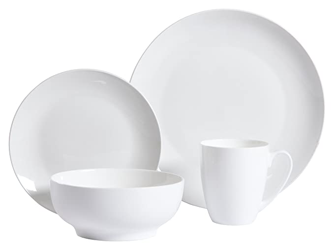 Amazon.com: Gibson Home 16 Piece Ogalla Dinnerware Set, White ...