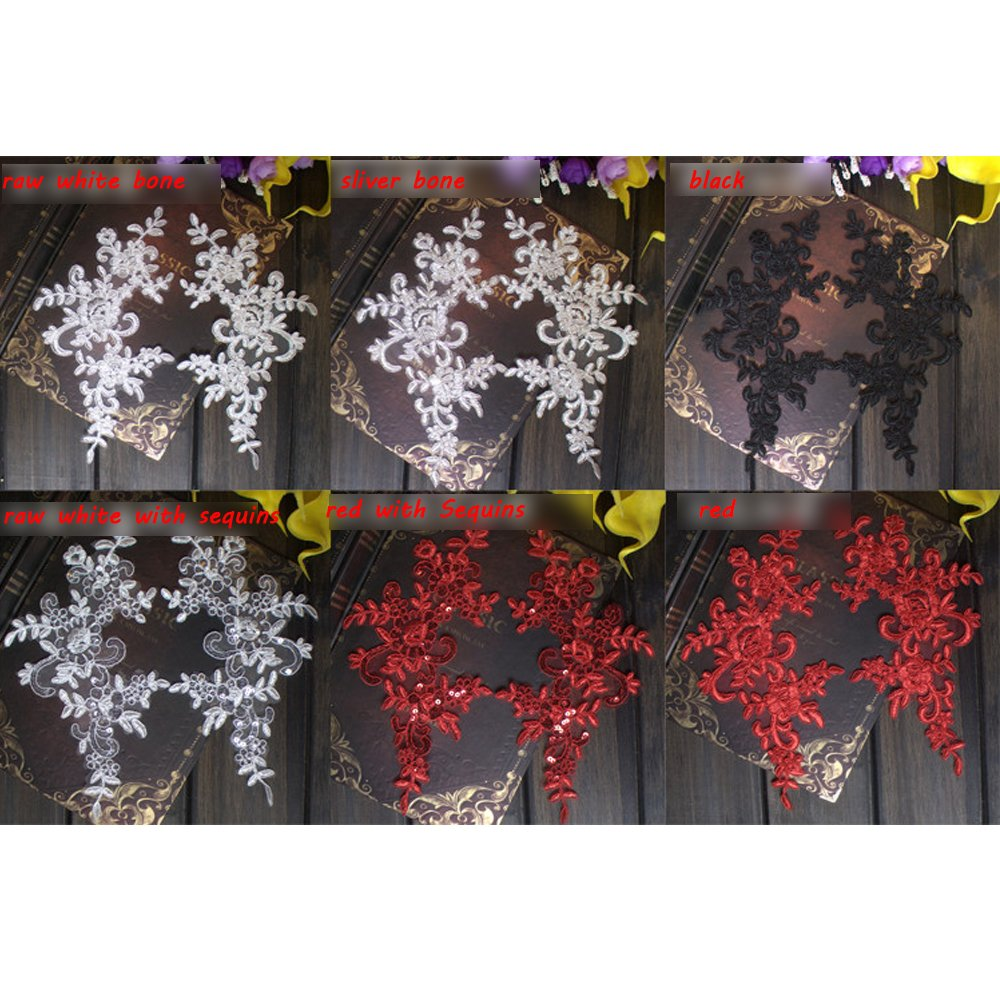2 Pcs Flower Lace Patches for Wedding Dress DIY Clothing Flower Applique Collar Material Black