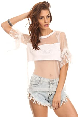 40249ffcbe53bc MeshMe Womens Rhi-Rhi - White Sheer Lace Ruffled Cuffs Sleeves Mesh  Embroidered Unapologetic Chic