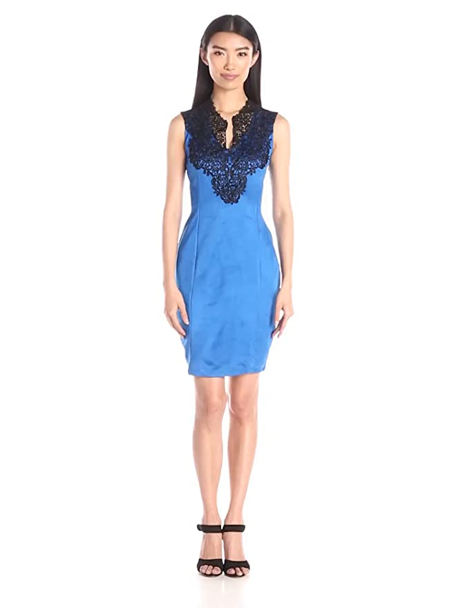 Amazon.com: Buffalo David Bitton Womens Keanna Faux Suede Bodycon Dress with Lace Detail, Bright Blue, Large: Clothing