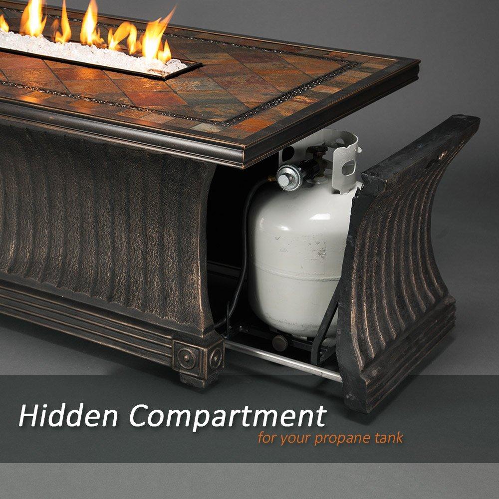 Amazon.com : Agio Vienna Gas Fire Pit With Copper Reflective Fire Glass :  Garden U0026 Outdoor