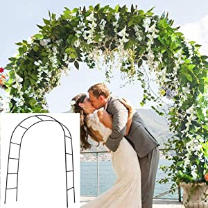 Metal Garden Arbor Wedding Arch 7.9 Ft H x 4.6 Ft W Outdoor Indoor Lightweight Assemble Freely Metal Arch for Various Climbing Plant Roses Vines Bridal Party Decoration Pergola Arbor (Black)